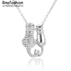 Cat Couple Pendant Necklace