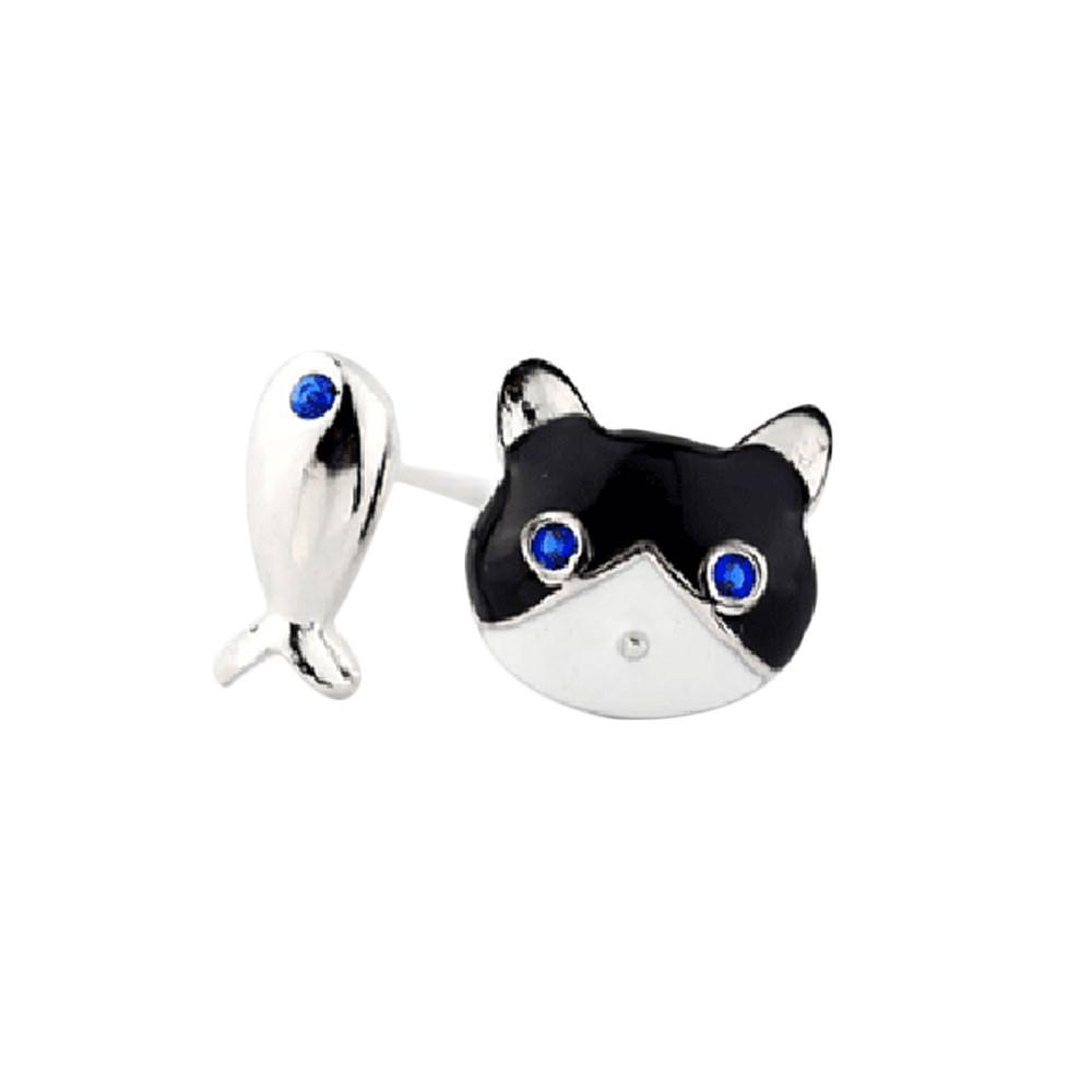 MeowMeowCastleWomen's Cat and Fish Stud EarringsEarrings - Meow Meow Castle