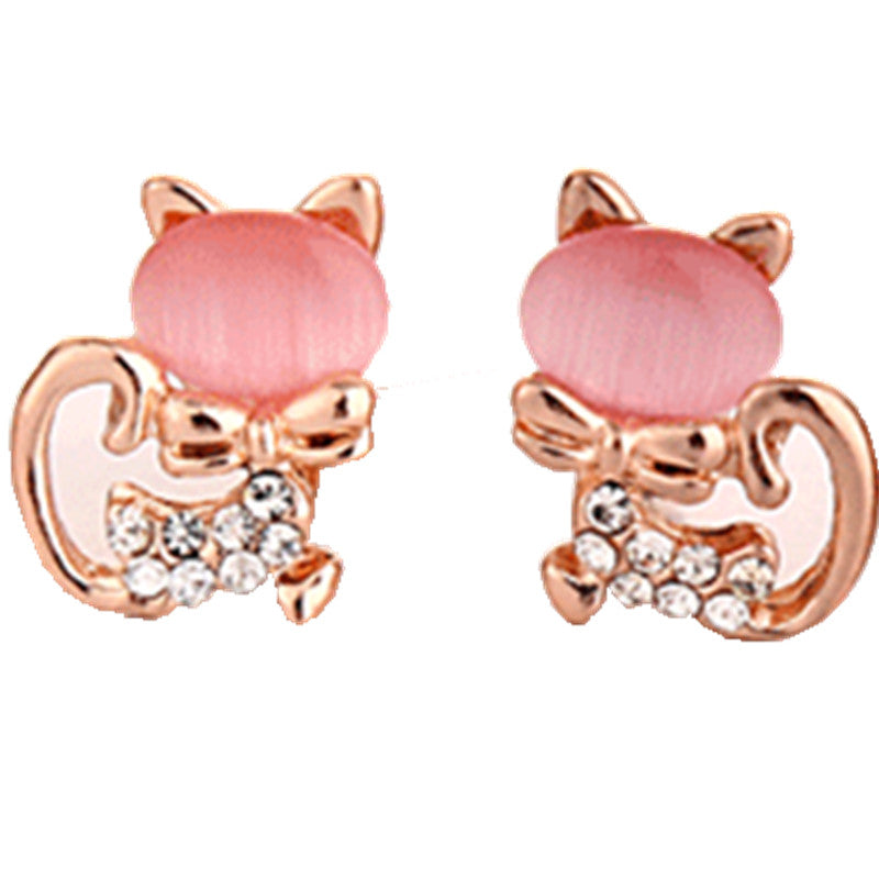 Meow Meow CastleRhinestone Kitty Cat Stud EarringsEarrings - Meow Meow Castle