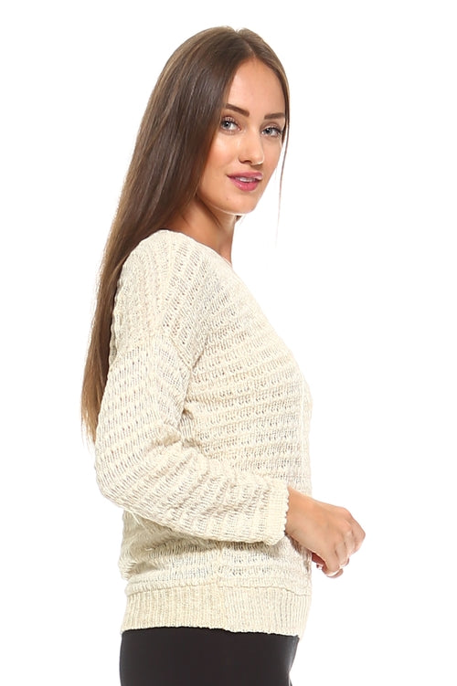 Light Knit Sweater Top With Woven Detail