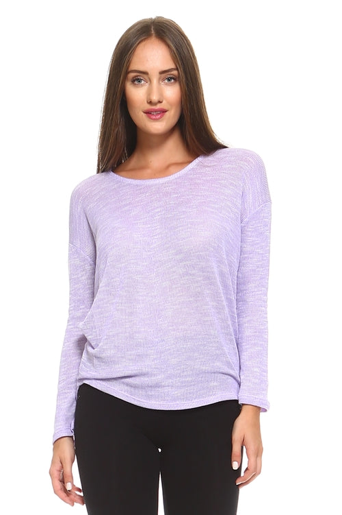Light Knit Sweater Top With Scoop Neck