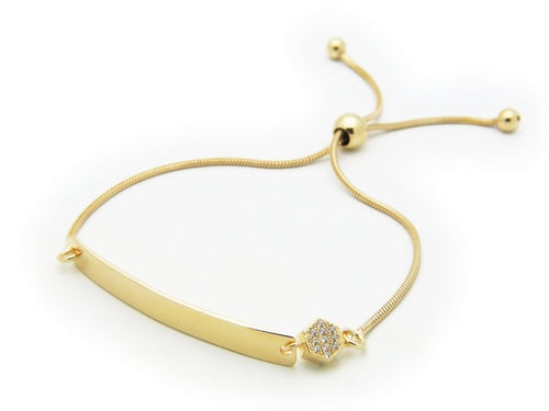 Engravable ID & CZ Golden Bracelet (Adjustable)