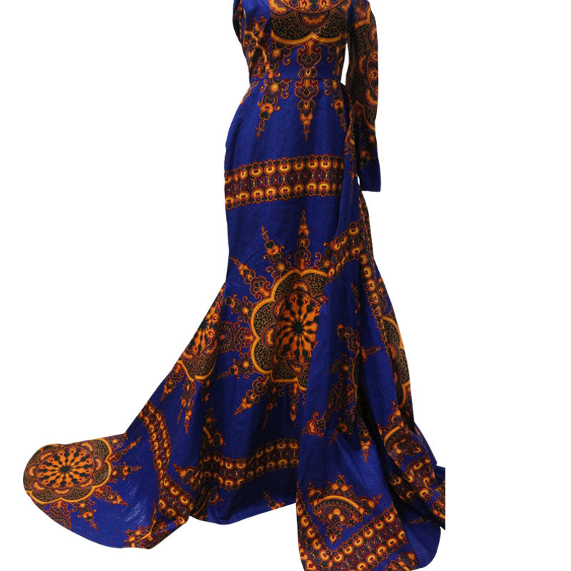 Breathtaking African-Styling Caped Evening Gown