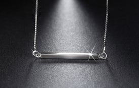 925 Sterling Silver Bar Pendant Necklace