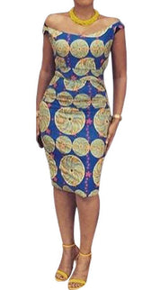 African Print Scoop-Back Dress