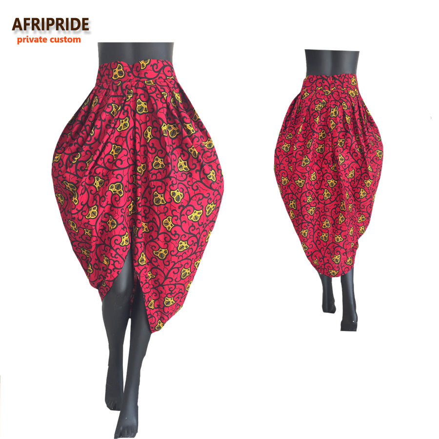 High-Waisted African Pleated Skirt