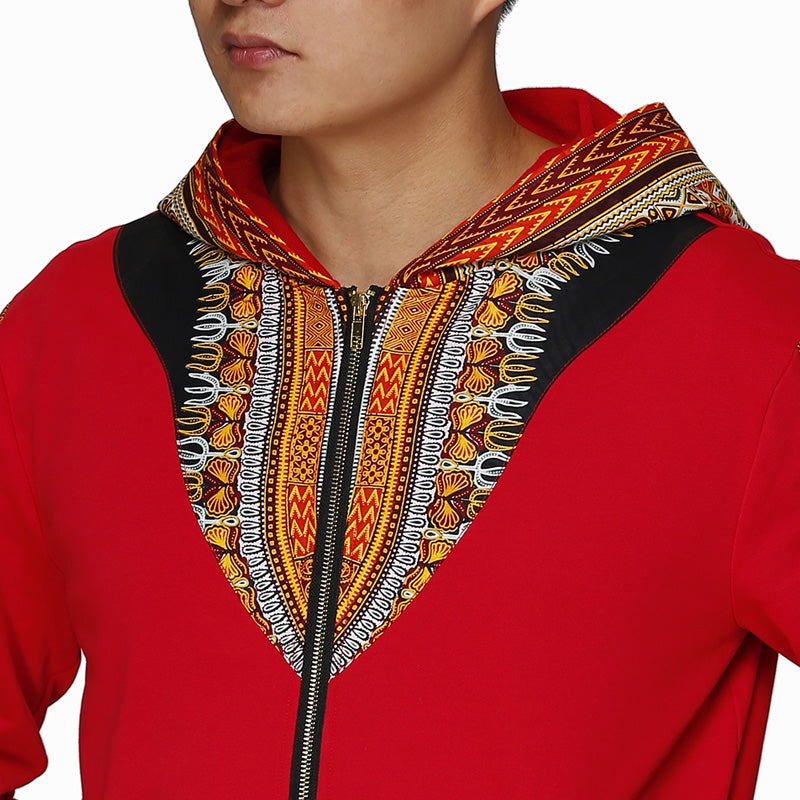 Hooded African Print Casual Track Jacket