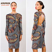 African Batik Midi Open-Back Dress