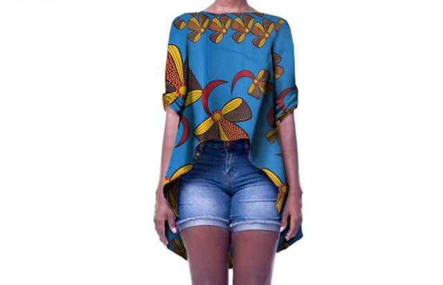 Batik Drape-Back Casual Top