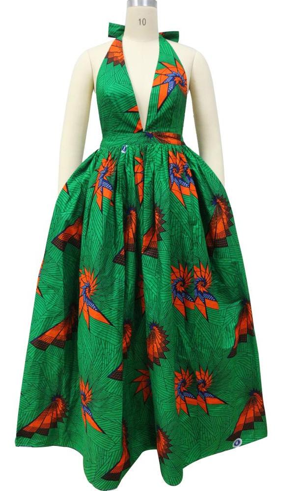 Bazin Riche African Print Halter Dress