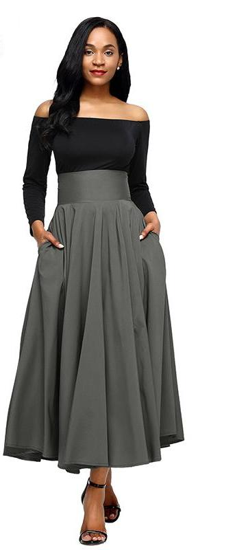 Retro-Inspired High Waist Pleated Maxi Skirt