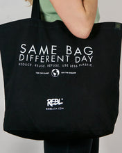 Tote bag - black natural cotton canvas