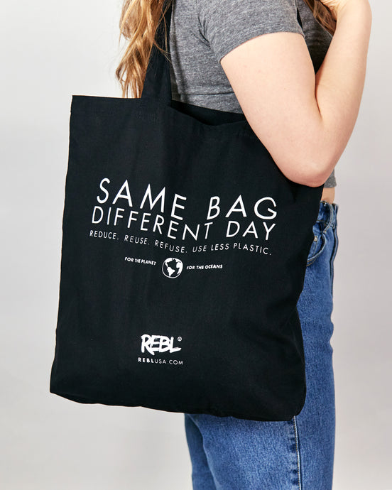 Tote Bag - Black Natural Cotton Canvas (Smaller size)