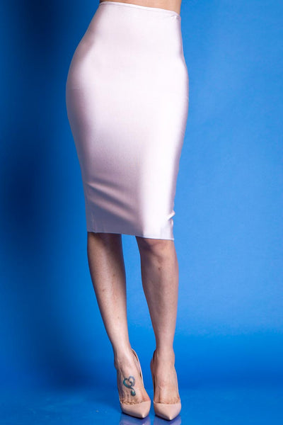The Stacey Bandage Midi Skirt (BLUSH)