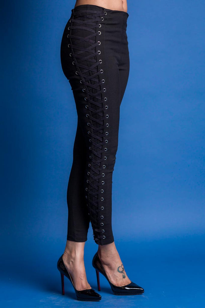 LACED IN HIGH WAIST SKINNY ANKLE LACE-UP PANT (BLACK)