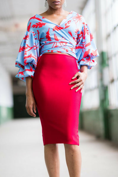 The Stacey Bandage Midi Skirt (RED)