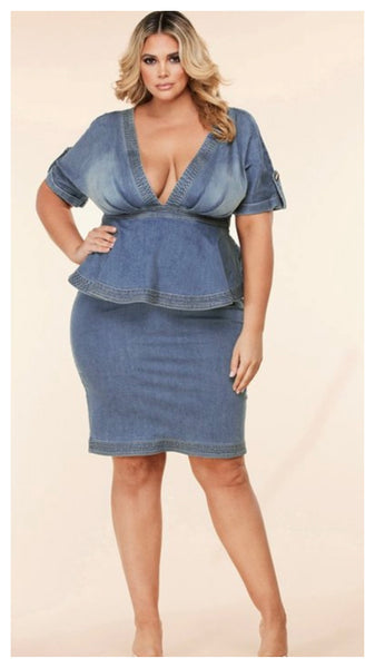 Denim Love Peplum Plus Size Dress