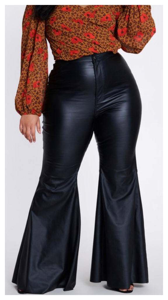 Show Off Faux Leather Bell Bottom Pants ( Available in Plus & Regular Sizes)