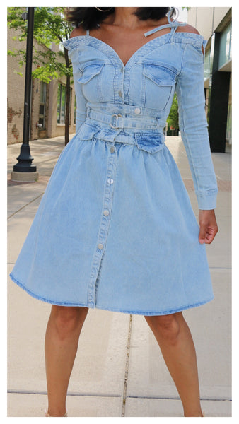 Denim Flare Off Shoulder Button Up Dress
