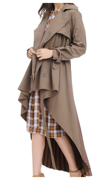 Pleats & Things Pleated Trench Coat (Beige)