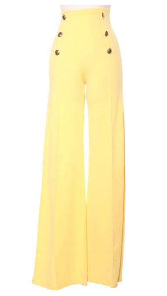Rina High Waisted Sailor Button Wide Leg Pants (Yellow)