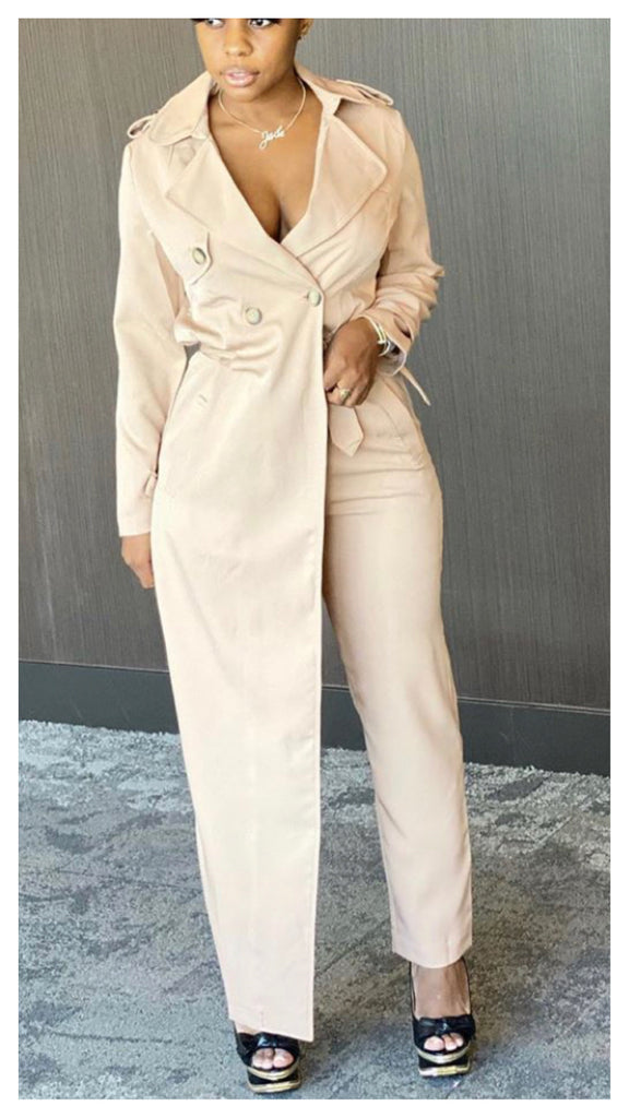 Two Faced Trench Jumpsuit