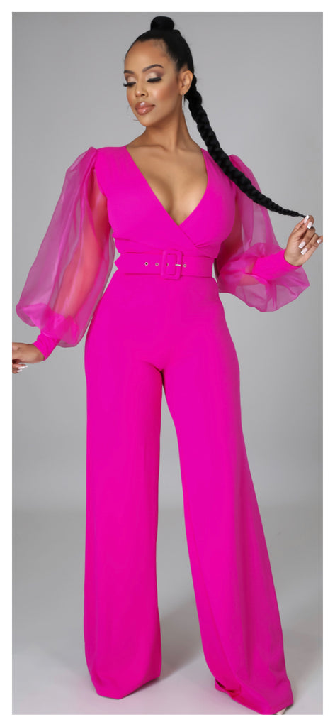 Layla Sheer Puff Sleeve Wide Leg Jumpsuit