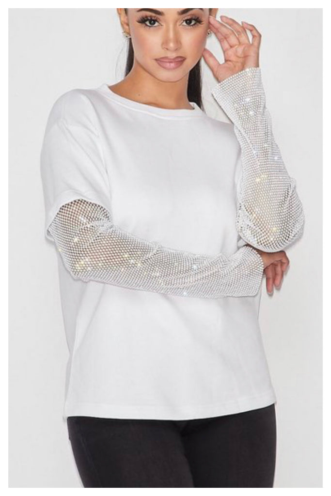 Sparkle It Rhinestone Sweatshirt Top (White)