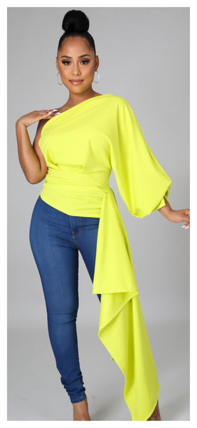 Just The Way One Shoulder Asymmetric Top (Lime)