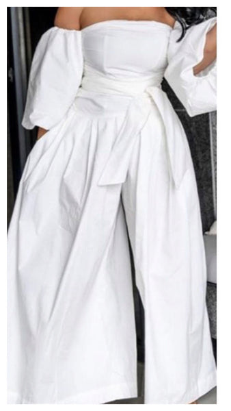 Chay Bubble Sleeve Wide Leg Jumpsuit (White)