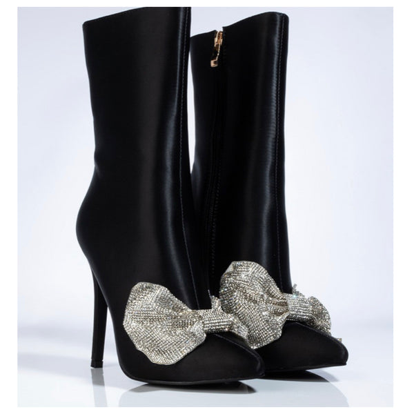 Sparkle it Baby Blitz Satin Black Bootie