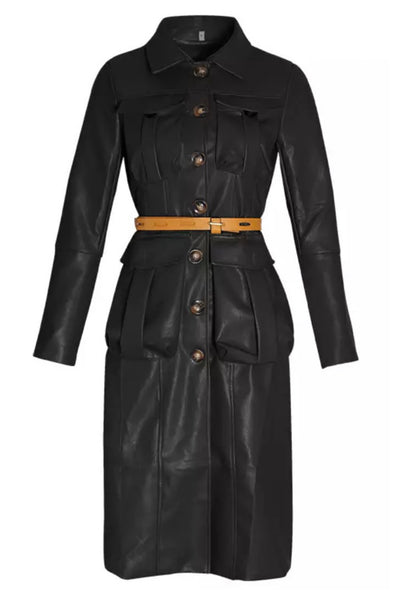 All My Pockets Faux Leather Belted Dress