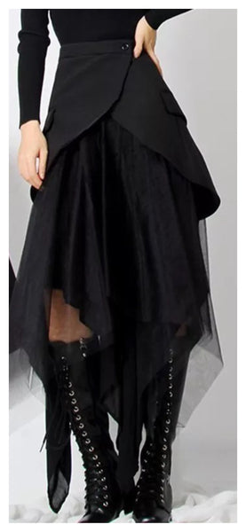 Classic & Tulle Mix Asymmetrical Skirt