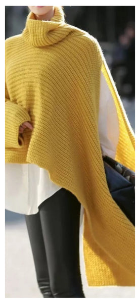 Trailing Along Oversized Knit Sweater (Mustard)