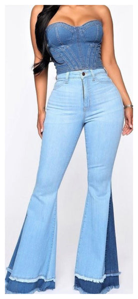 Two Tones High Waist Flare Jeans