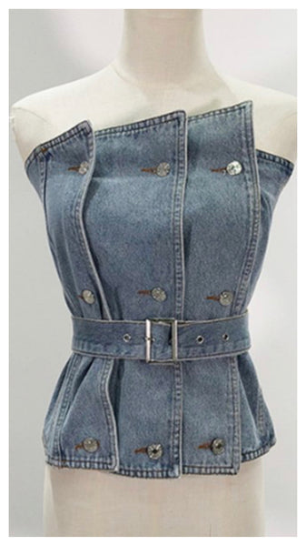 Cut N Pieces Denim Corset Top
