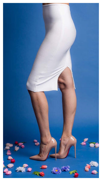 The Stacey Bandage Midi Skirt (WHITE)