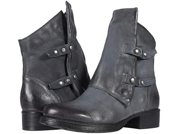 Comfy Comfort Dual Button Leather Bootie (Blue/ Grey)