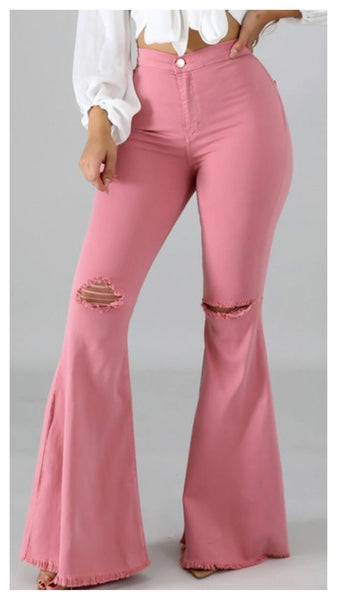 Spring has Sprung Distressed Wide Leg Jean ( Pink)