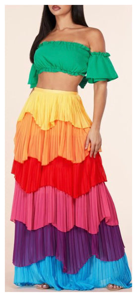 Rainbow of Colors 2pc Maxi Skirt Set