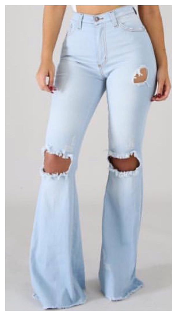 Flare N  OUT! 5 Pocket Frayed Wide Leg Ripped Jean