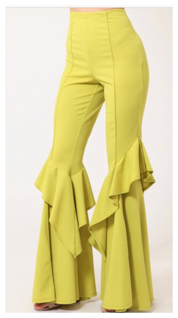 Ruffle it Up!! Wide Leg Tiered Pants (Lime)
