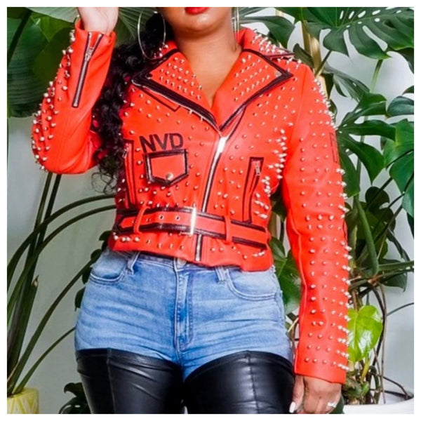 Hey Lady In Red Studded Faux leather jacket
