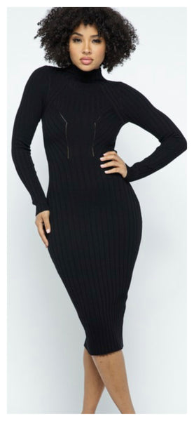 Fittin Pretty Bodycon Sweater Dress (Black)