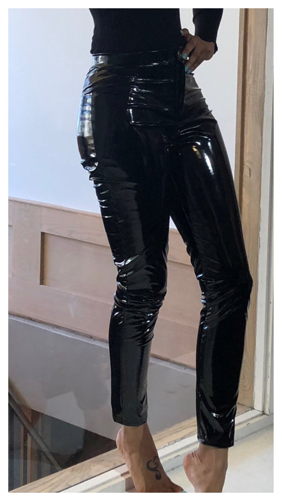 Shiny Shine Faux Leather Look Pants
