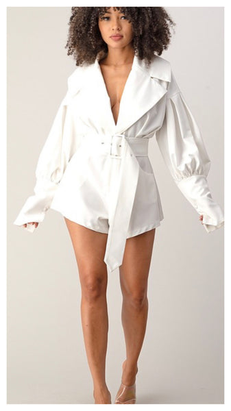 Snow Cloud Puff Sleeve Romper