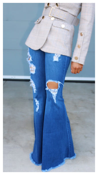 All Distressed Out! Wide Leg Jean