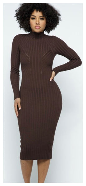 Fittin Pretty Bodycon Sweater Dress (Brown)