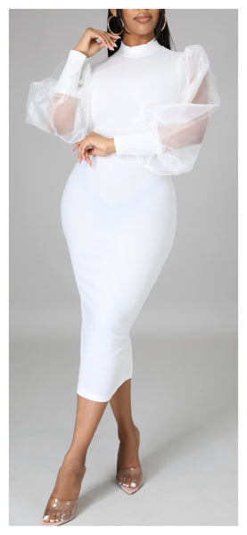 Such a Lady Sheer Bubble Sleeve Dress (Ivory)