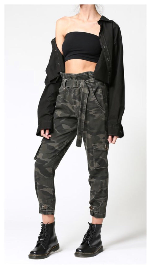 Cute in Camo High Rise Paperbag Jean
